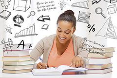 education and college concept - international student studying in college